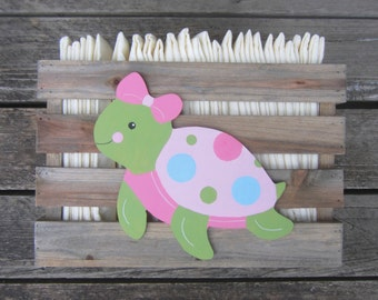 TURTLE Nursery Pallet Wood Storage Crate - Boy/Girl Hand Painted Hand Crafted - Diaper/Toy Storage - Wall Mount Option