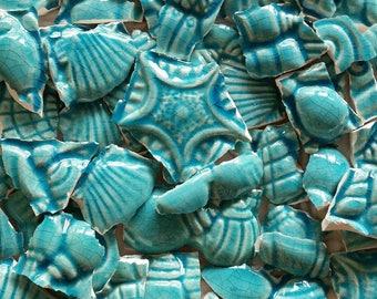 Mosaic Tiles--Sea Shells- Starfish Turquoise-- 35 Tiles.