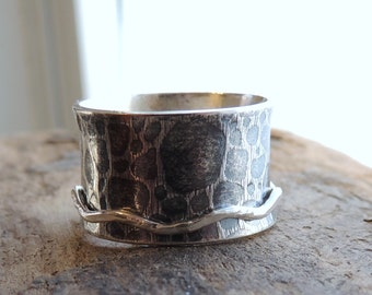 Rustic Sterling Silver Spinner Ring - Silver Worry Ring - Fiddle Ring