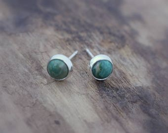 Turquoise green sterling silver stud earrings - Turquoise Jewelry