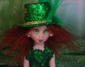 St Patrick's Day Irish Leprechaun Shamrock Fairy OOAK Art Doll Lori Schroeder 190YR