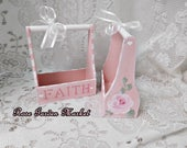 Mini Faith Wood Totes, Set of 2, Hand Painted Ballet Pink, Cottage Roses, Storage, Gift Box, Sewing Room, Craft Room Storage, ECS
