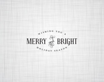 Holiday Card Stamp, Christmas Card Stamp, Stamp, Merry and Bright Stamp, Holiday Envelope Stamp