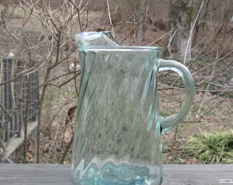 Vintage Pale Green Glass Pitcher - Large Swirl Glass Pitcher- 1960s Glassware