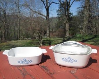 Vintage Corning Cookware Set - Corning Cornflower Casserole Dishes - 1 Quart and 1 1/4 Quart Baking Dishes
