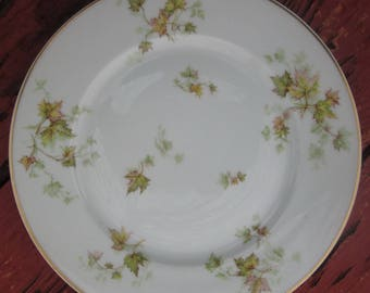 Vintage Haviland Limoges Serving Plate - Autumn Leaf - Green and Tan