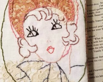 1940 Fancy Lady Embroidered Journal with Amy Butler Floral Journal Women Gift 7 X 5 by Make Mine Pretty