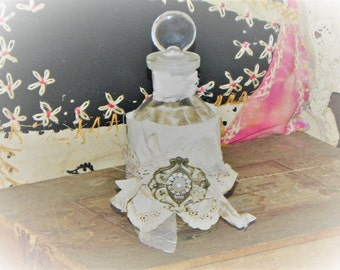 Repurposed Antique Bottle~Old Ecru Lace~Adorned w/Rustic Fancy Findings~  Vintage Shabby ~Original Glass Stopper