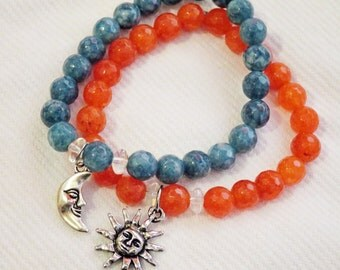 Sun and Moon charm bracelet set, celestial jewelry, astronomical bracelet, stellar, planetary, stacked jewelry, stretch bracelets