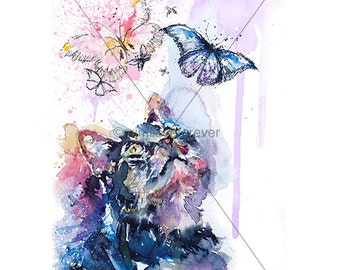 Tabby Cat Art Print. Cat Art. Cat Watercolour Print. Cute Cat. Cat Wall Art. Butterflies.