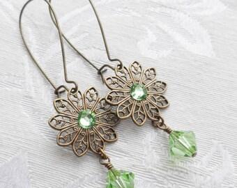 Sale, Princess Earring, Swarovski Crystal, Spring Green
