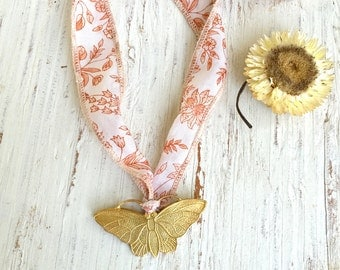 Floral silk ribbon long necklace,Butterfly pendant necklace,summer bohemian necklace,Festival necklace. tiedupmemories