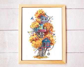 Treehouse Series Neighborhood 2 Watercolor Art Print - Digital Download