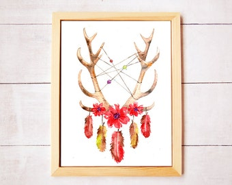 Dreamcatcher Antlers Red Daisies Botanical Watercolor Art - Digital Download