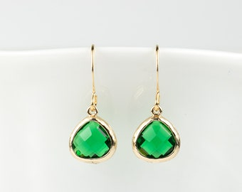 Tiny Emerald Gold Earrings, May Birthstone Gold Earrings, May Birthstone Emerald Gold Earrings, Bridesmaid Earrings, Gold Earrings