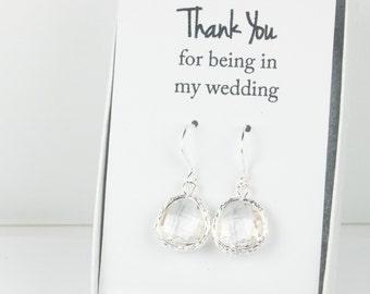 Crystal Silver Earrings, Crystal Earrings, Crystal Wedding Jewelry, Bridesmaid Earrings, Wedding Accessories, April Birthstone Earrings