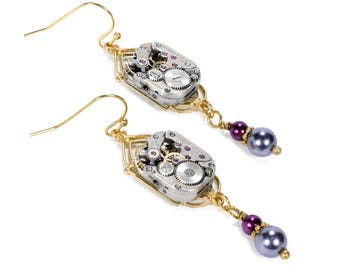 Steampunk Jewelry Earrings Gold Art DECO WITTENAUER Watch Movement Plum and Grey Pearls, Wedding Bridal Mothers Day - Jewelry by edmdesigns