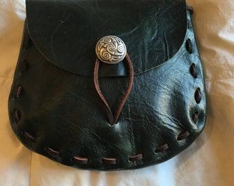 Very Dark Green Leather Medieval Style Pouch