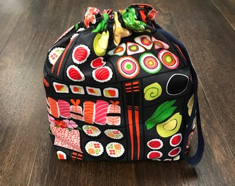 Reverisble Kawaii Sushi project bag