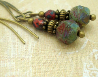 Boho Earrings with Rough Faceted Glass Beads in Sage Green with Orange and Red
