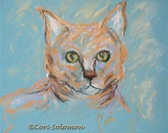 Orange Tabby Cat Art Original Framed Pastel Drawing  By Cori Solomon