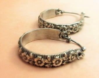 Small Sterling Silver Hoop Earrings, Classic Earrings, Rose Pattern Earrings, Floral Small Silver Earrings, Flower Contemporary Earrings