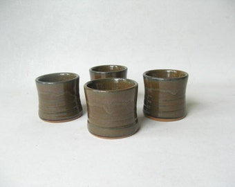 Pottery Shot Glasses Set of 4, Set of Whiskey Cups