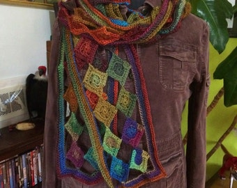 Diamond Openwork Scarf in Rainbow Jewel Tones - 2 row