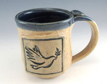 Pottery Peace Mug/ Pottery Peace Dove Mug/Hand Made Peace Dove Cup