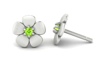 August Birthstone Earrings with Peridot Flowers in 14k White, Yellow, or Rose Gold - Mommyl Gift - Laurie Sarah Flower Jewelry - LS4628