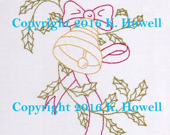 Bell and Holly Hand Embroidery Pattern, Christmas, New Year's, Thanksgiving, Bell, Holly, Festive, Decoration, Bow, Winter, PDF