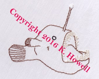 Angler Fish Hand Embroidery Pattern, fish, ocean, deep, sea, predator, scary, PDF