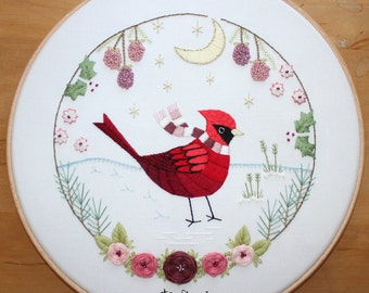 Christmas Cardinal Embroidery Pattern