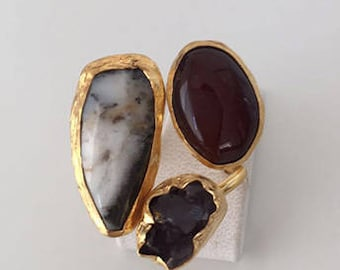 Triple Gold plated  Agate and  Amethyst  ring