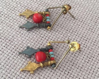 Tribal Afghan Silver earrings, Turkish jewelry, Gold plated  Coral, Turquoise earring