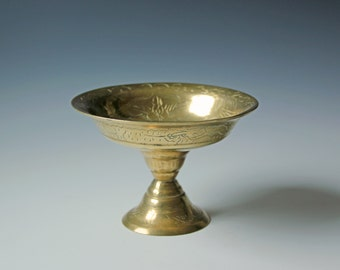 Vintage Chinese brass compote dish - incised patterns of dragons, clouds and flowers