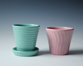 Vintage pair of Haeger pottery ceramic planter pink and teal - pastel nursery petite planter