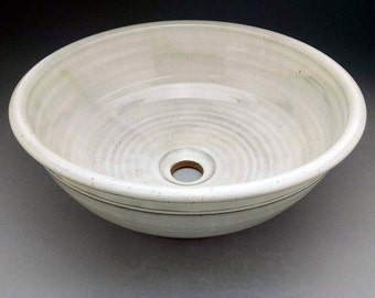 "15"" x 5 1/2"" Handmade Pottery Vessel Sink in Cream/White/Gray - Designed for your Bathroom Remodeling - Ready to Ship"