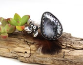 Reserved for Theresa Rose Cut Dendridic Opal and Real Succulent bud Sterling Silver ring, boho, gypsy, organic, size 7.0-8.0 Adjustable, han