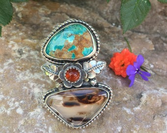 Rustic Bohemian Kingman Turquoise and Montaga Agate Stone Bezeled in Sterling Silver Ring Size 6.5, boho, gypsy