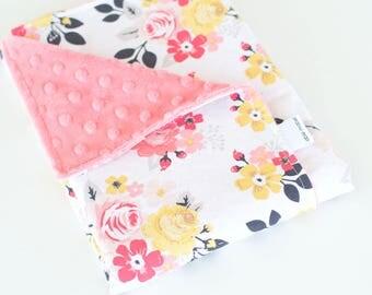 Baby Girl Minky Blanket, Vintage Daydream in Cream, Vintage Flowers