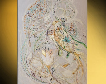Original canvas painting French lace style blue green gold orange thick paint pearl background huge wall hanging clever gift for bride