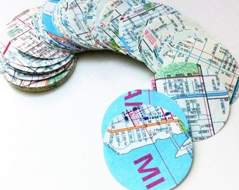 100 Paper Map 1.5 inch Wide Circles from Miami Road Map for Garlands or Wedding Confetti