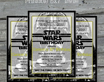 Darth Vader Birthday Invite -  Star Wars Birthday Invitation -  Digital Birthday Invite -  Printable Party - Dark Lord