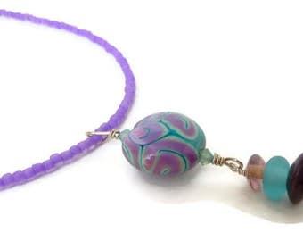 Pendant Glass Blue, Pendant Blue Boho, Pendant Glass Boho, Pendant Silver Purple, Boho Pendant Purple, Lampwork Glass Pendant, Purple Drop