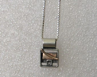 Small Square Sterling Goldfill Shadow Box Necklace