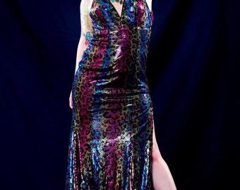 Vintage 90s Panoply Rainbow Leopard Prom Dress