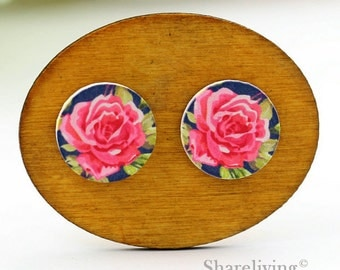 Buy 1 Get 1 Free - Pink Rose Cabochon Button, 12mm 15mm 20mm  Round Handmade Photo Wood Cut Cabochon -- HWC046T