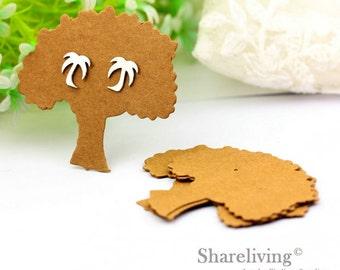 Kraft Paper life of tree shape Earring Display Tags, Earring Display Cards, Earring Holder,  Packaging, Blank Design Tag - EDC001L