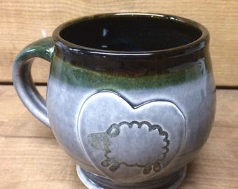 Sheep Mug Gray Pottery Coffee Mug